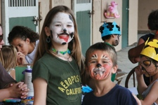 Children with painted faces